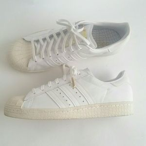 Adidas Gold White Superstar Snake Reptile Texture